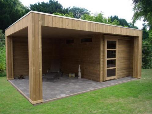 Tuinhuisje met plat dak I